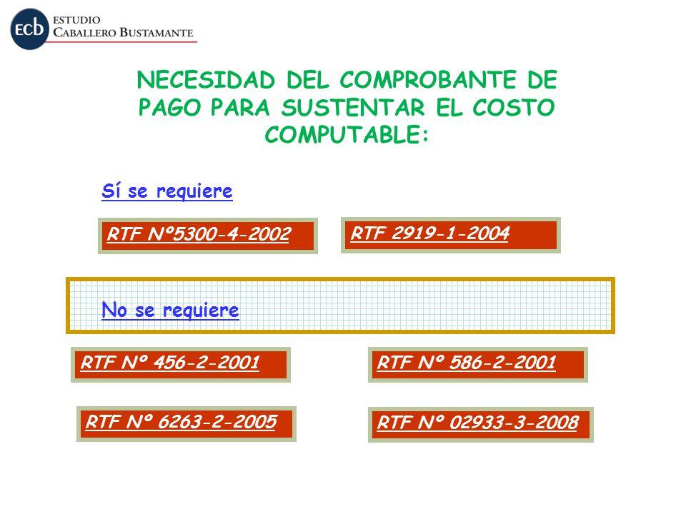 RTF Nº5300-4-2002 Sí se requiere No se requiere RTF Nº 02933-3-2008 NECESIDAD DEL COMPROBANTE DE PAGO PARA SUSTENTAR EL COSTO COMPUTABLE: RTF Nº 456-2