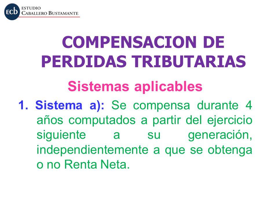COMPENSACION DE PERDIDAS TRIBUTARIAS Sistemas aplicables 1. Sistema a): Se compensa durante 4 años computados a partir del ejercicio siguiente a su ge