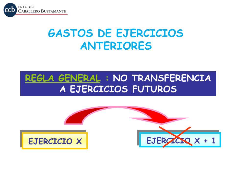 REGLA GENERAL : NO TRANSFERENCIA A EJERCICIOS FUTUROS EJERCICIO X EJERCICIO X + 1