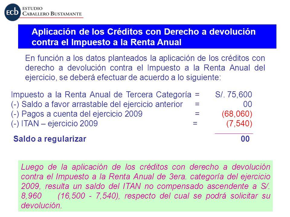 Aplicación de los Créditos con Derecho a devolución contra el Impuesto a la Renta Anual En función a los datos planteados la aplicación de los crédito