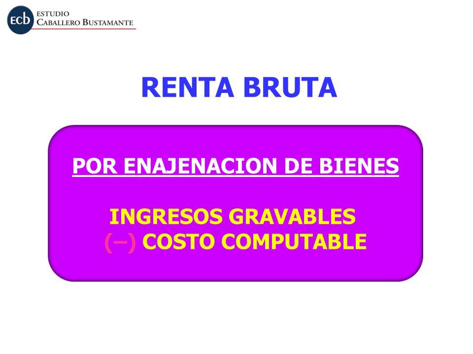 RENTA BRUTA POR ENAJENACION DE BIENES INGRESOS GRAVABLES (–) COSTO COMPUTABLE