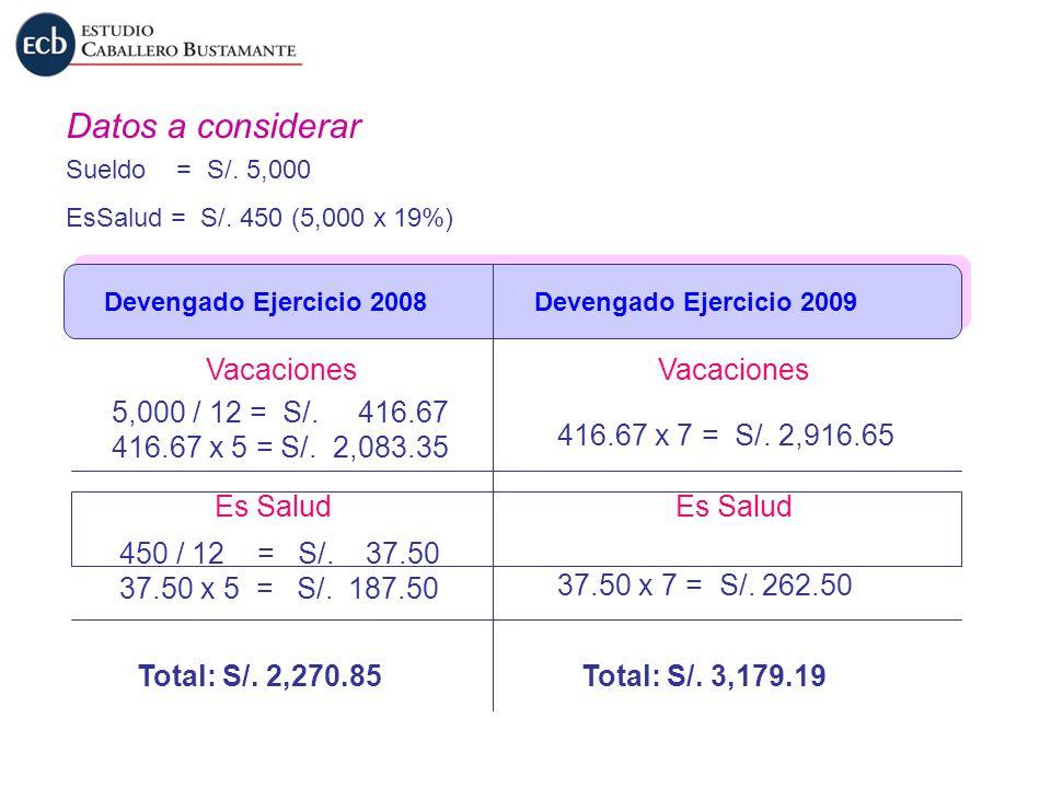 Datos a considerar Sueldo = S/. 5,000 EsSalud = S/. 450 (5,000 x 19%) Devengado Ejercicio 2008Devengado Ejercicio 2009 5,000 / 12 = S/. 416.67 416.67