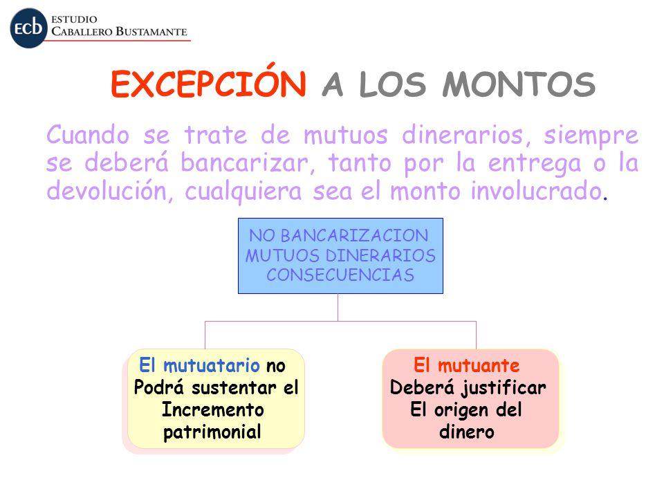 NO BANCARIZACION MUTUOS DINERARIOS CONSECUENCIAS El mutuatario no Podrá sustentar el Incremento patrimonial El mutuatario no Podrá sustentar el Increm