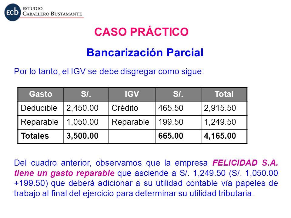 Por lo tanto, el IGV se debe disgregar como sigue: GastoS/.IGVS/.Total Deducible2,450.00Crédito465.502,915.50 Reparable1,050.00Reparable199.501,249.50