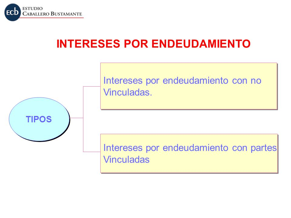 INTERESES POR ENDEUDAMIENTO TIPOS Intereses por endeudamiento con no Vinculadas. Intereses por endeudamiento con no Vinculadas. Intereses por endeudam