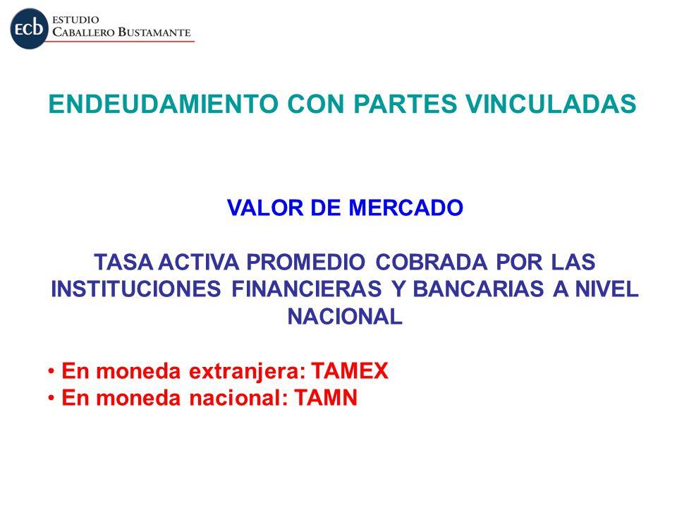 VALOR DE MERCADO TASA ACTIVA PROMEDIO COBRADA POR LAS INSTITUCIONES FINANCIERAS Y BANCARIAS A NIVEL NACIONAL En moneda extranjera: TAMEX En moneda nac