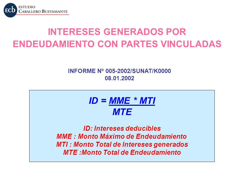 INTERESES GENERADOS POR ENDEUDAMIENTO CON PARTES VINCULADAS ID = MME * MTI MTE ID: Intereses deducibles MME : Monto Máximo de Endeudamiento MTI : Mont