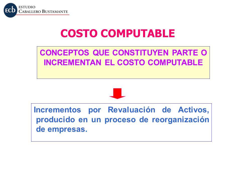 Incrementos por Revaluación de Activos, producido en un proceso de reorganización de empresas. COSTO COMPUTABLE CONCEPTOS QUE CONSTITUYEN PARTE O INCR