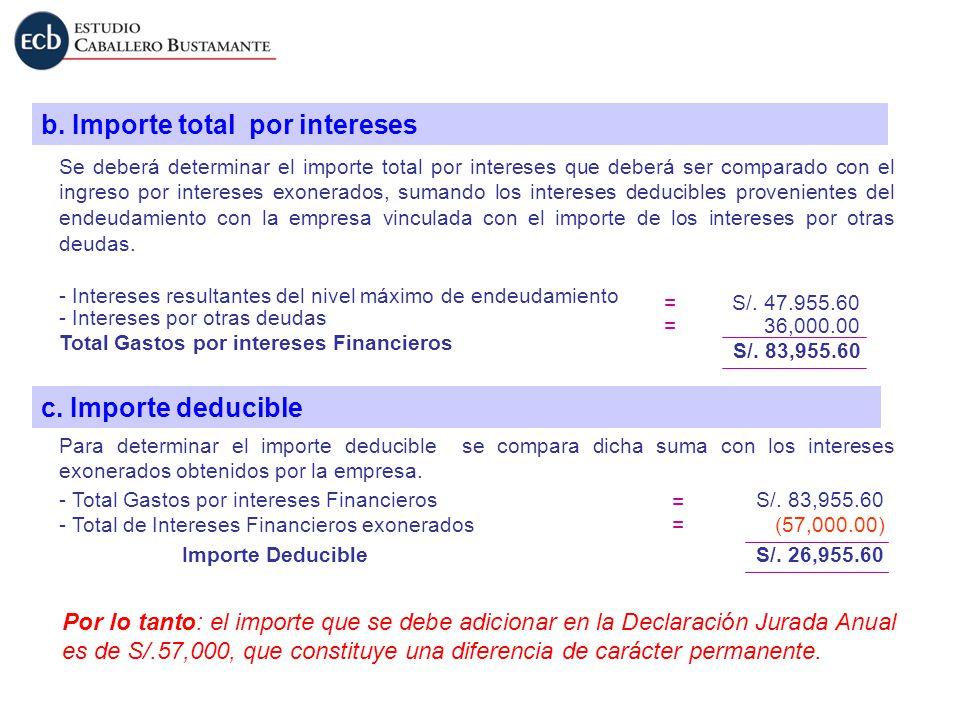 b. Importe total por intereses Se deberá determinar el importe total por intereses que deberá ser comparado con el ingreso por intereses exonerados, s