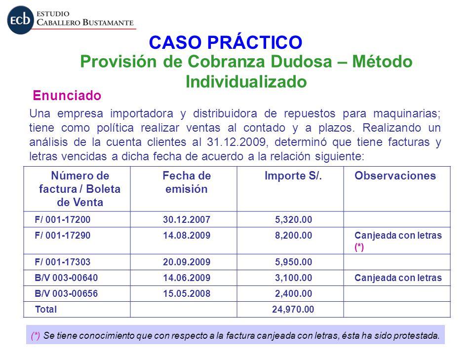 Provisión de Cobranza Dudosa – Método Individualizado Enunciado Una empresa importadora y distribuidora de repuestos para maquinarias; tiene como polí