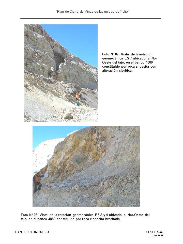 Plan de Cierre de Minas de las unidad de Ticlio Foto Nº 09: Vista de la estación geomecánica ES-10 ubicado al Nor-Este del tajo, en el banco 4875 constituido por roca riolita con alteración vuggi.