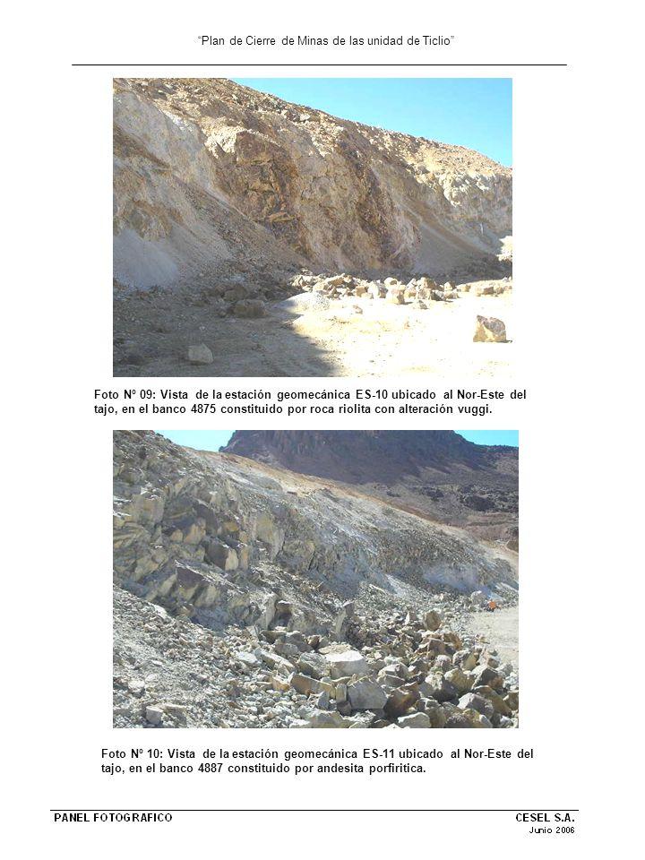 Plan de Cierre de Minas de las unidad de Ticlio Foto Nº 09: Vista de la estación geomecánica ES-10 ubicado al Nor-Este del tajo, en el banco 4875 cons