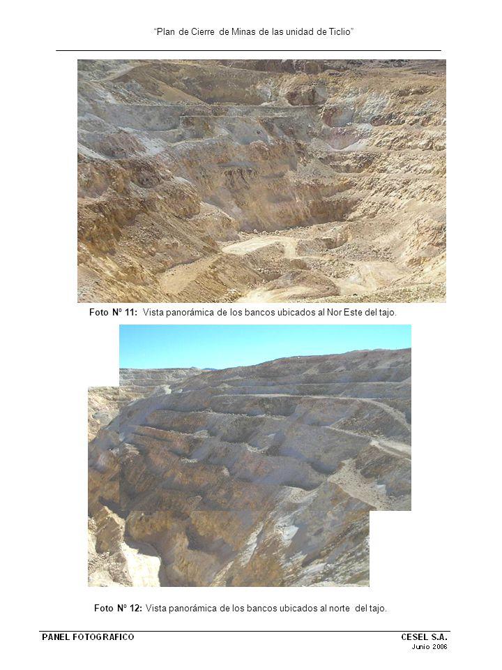 Plan de Cierre de Minas de las unidad de Ticlio Foto Nº 11: Vista panorámica de los bancos ubicados al Nor Este del tajo. Foto Nº 12: Vista panorámica