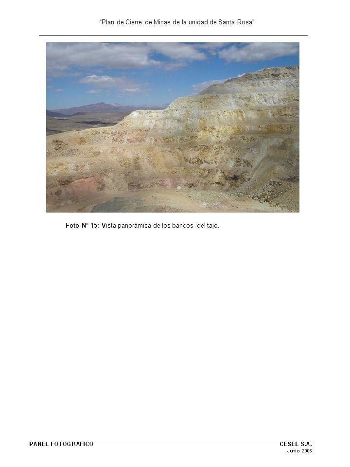 Plan de Cierre de Minas de la unidad de Santa Rosa Foto Nº 15: Vista panorámica de los bancos del tajo.