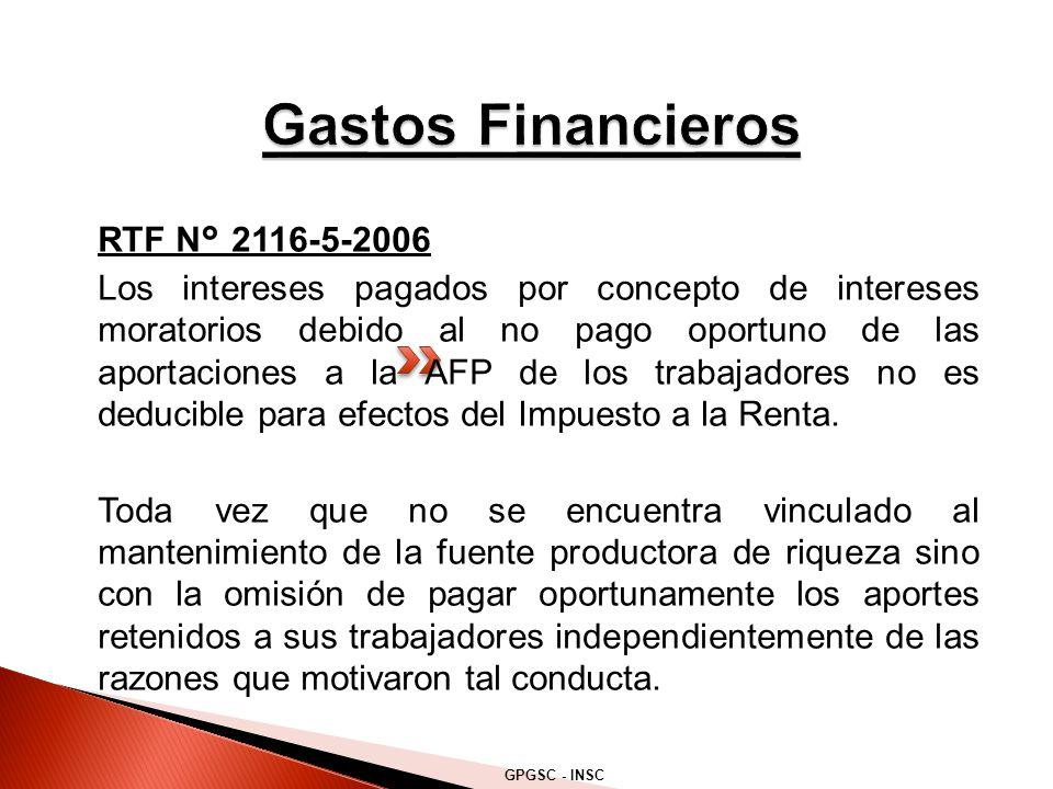 RTF N° 2116-5-2006 Los intereses pagados por concepto de intereses moratorios debido al no pago oportuno de las aportaciones a la AFP de los trabajadores no es deducible para efectos del Impuesto a la Renta.