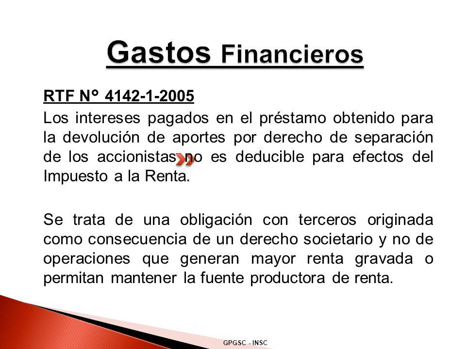 RTF N° 4142-1-2005 Los intereses pagados en el préstamo obtenido para la devolución de aportes por derecho de separación de los accionistas no es deducible para efectos del Impuesto a la Renta.