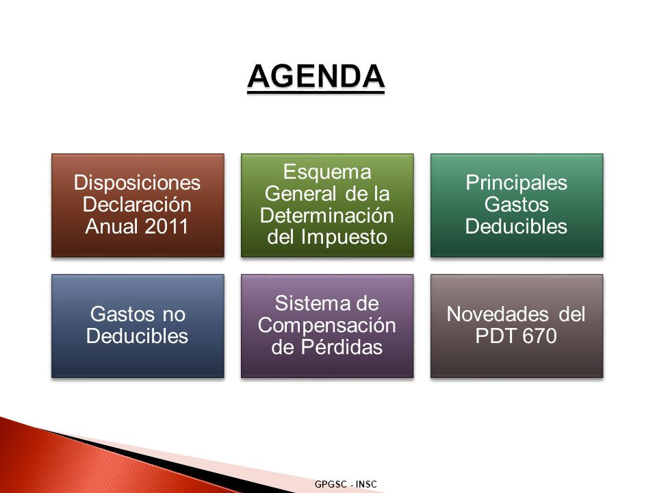 Disposiciones Declaración Anual 2011 Esquema General de la Determinación del Impuesto Principales Gastos Deducibles Gastos no Deducibles Sistema de Co