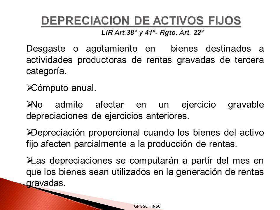 Desgaste o agotamiento en bienes destinados a actividades productoras de rentas gravadas de tercera categoría.