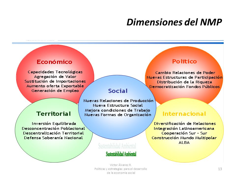 Víctor Álvarez R. Políticas y estrategias para el desarrollo de la economía social 13 Dimensiones del NMP