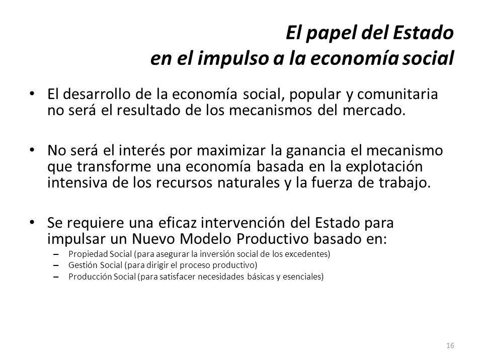 16 El papel del Estado en el impulso a la economía social El desarrollo de la economía social, popular y comunitaria no será el resultado de los mecan