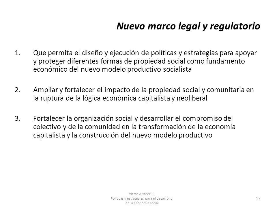 Víctor Álvarez R. Políticas y estrategias para el desarrollo de la economía social 17 Nuevo marco legal y regulatorio 1.Que permita el diseño y ejecuc