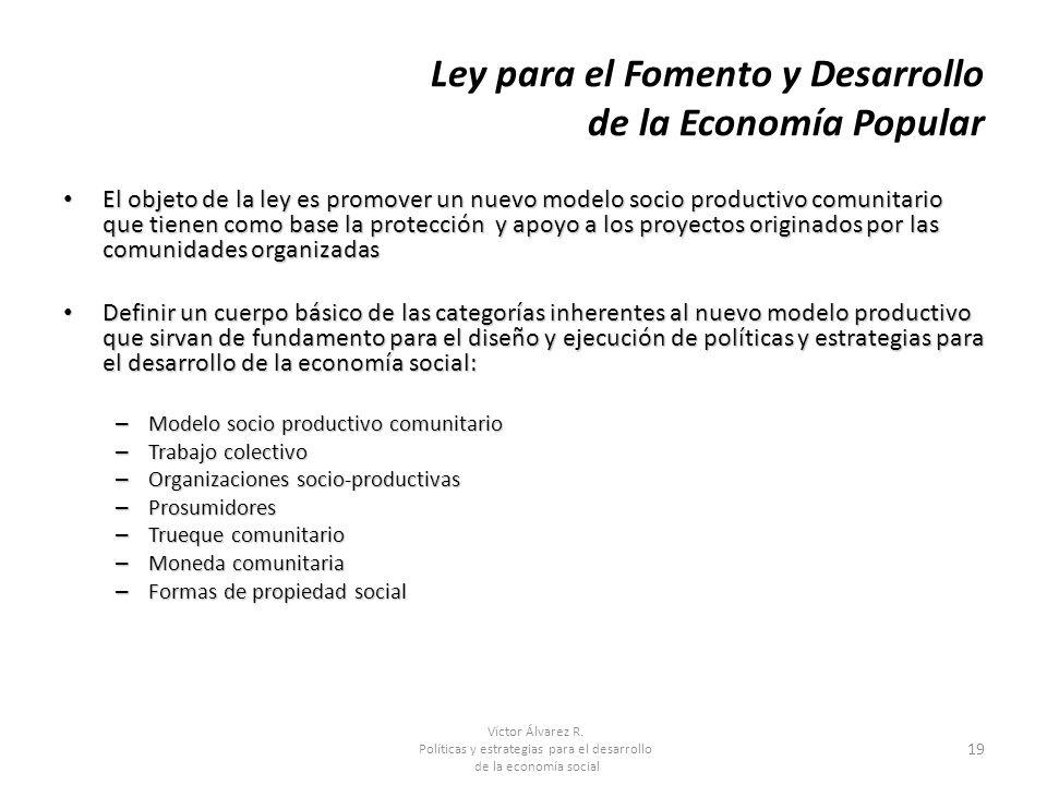 Víctor Álvarez R. Políticas y estrategias para el desarrollo de la economía social 19 Ley para el Fomento y Desarrollo de la Economía Popular El objet