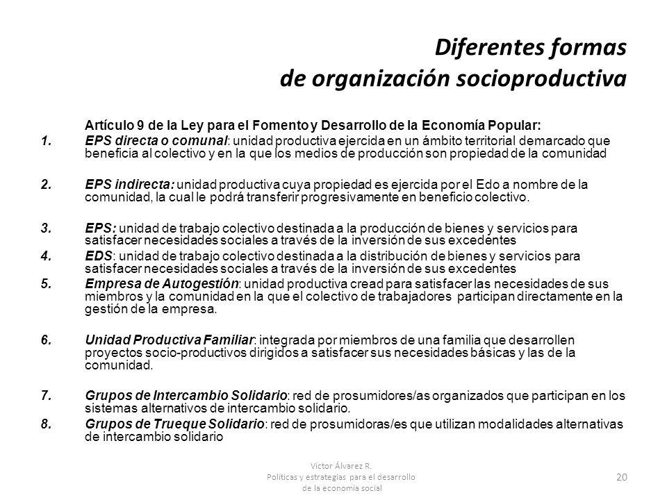 Víctor Álvarez R. Políticas y estrategias para el desarrollo de la economía social 20 Diferentes formas de organización socioproductiva Artículo 9 de