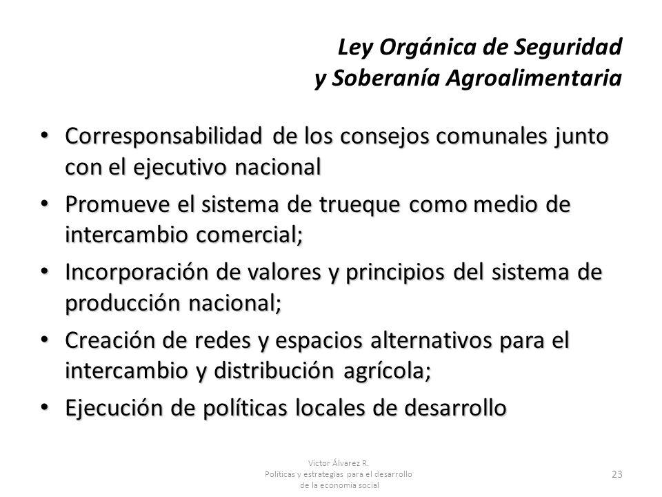 Víctor Álvarez R. Políticas y estrategias para el desarrollo de la economía social 23 Ley Orgánica de Seguridad y Soberanía Agroalimentaria Correspons