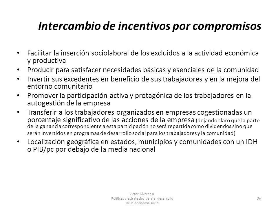 Víctor Álvarez R. Políticas y estrategias para el desarrollo de la economía social 26 Intercambio de incentivos por compromisos Facilitar la inserción