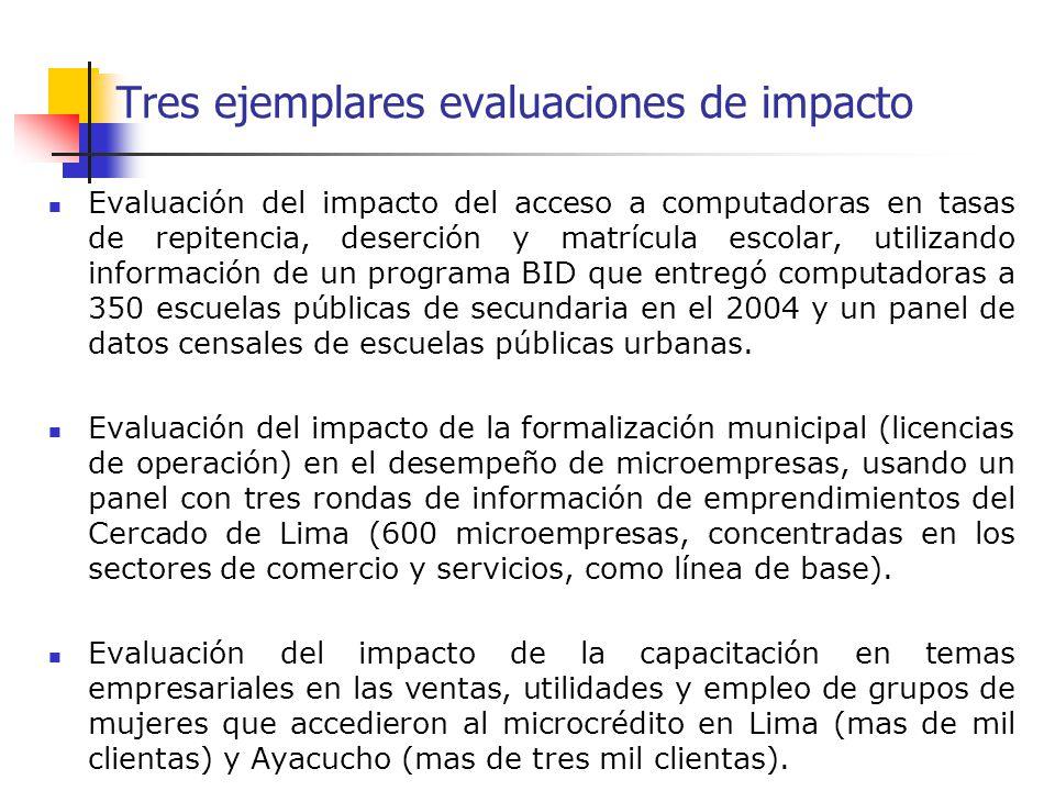 Tres ejemplares evaluaciones de impacto Evaluación del impacto del acceso a computadoras en tasas de repitencia, deserción y matrícula escolar, utiliz