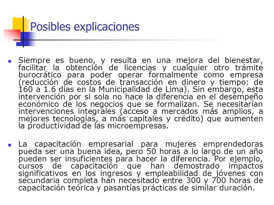Posibles explicaciones Siempre es bueno, y resulta en una mejora del bienestar, facilitar la obtención de licencias y cualquier otro trámite burocrático para poder operar formalmente como empresa (reducción de costos de transacción en dinero y tiempo: de 160 a 1.6 días en la Municipalidad de Lima).