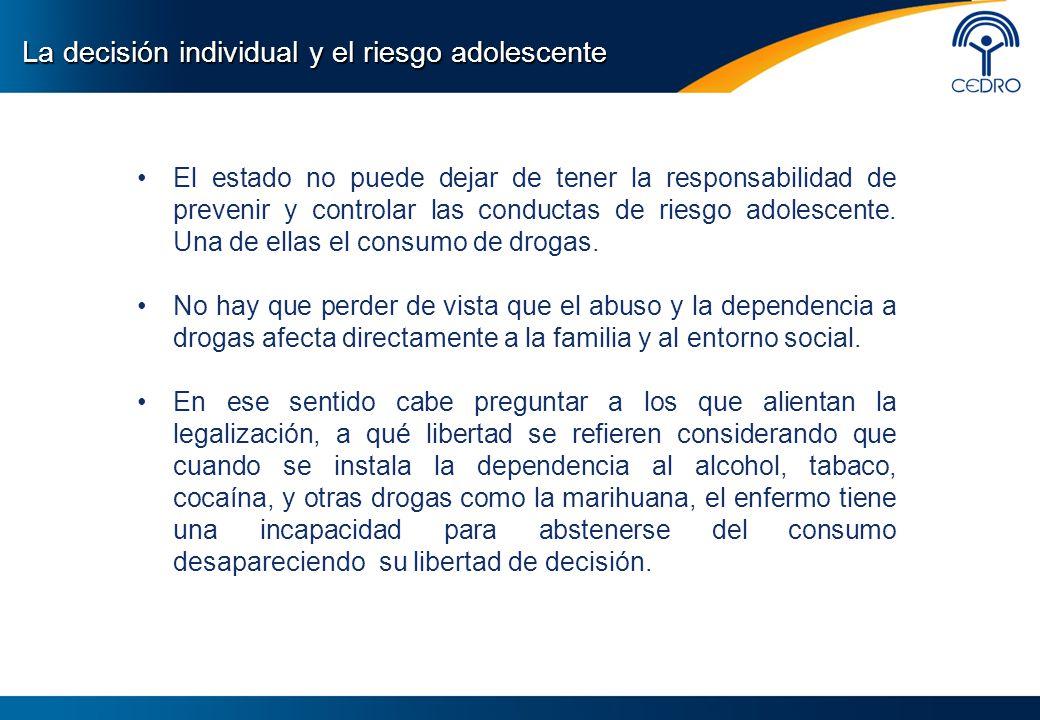 El estado no puede dejar de tener la responsabilidad de prevenir y controlar las conductas de riesgo adolescente. Una de ellas el consumo de drogas. N