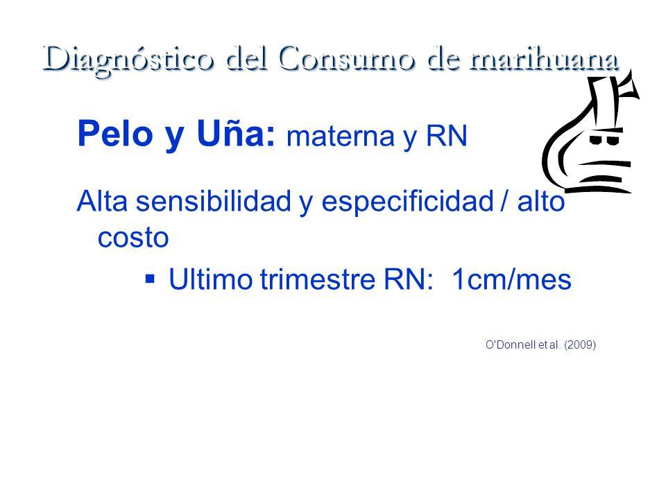 Pelo y Uña: materna y RN Alta sensibilidad y especificidad / alto costo Ultimo trimestre RN: 1cm/mes O'Donnell et al. (2009)