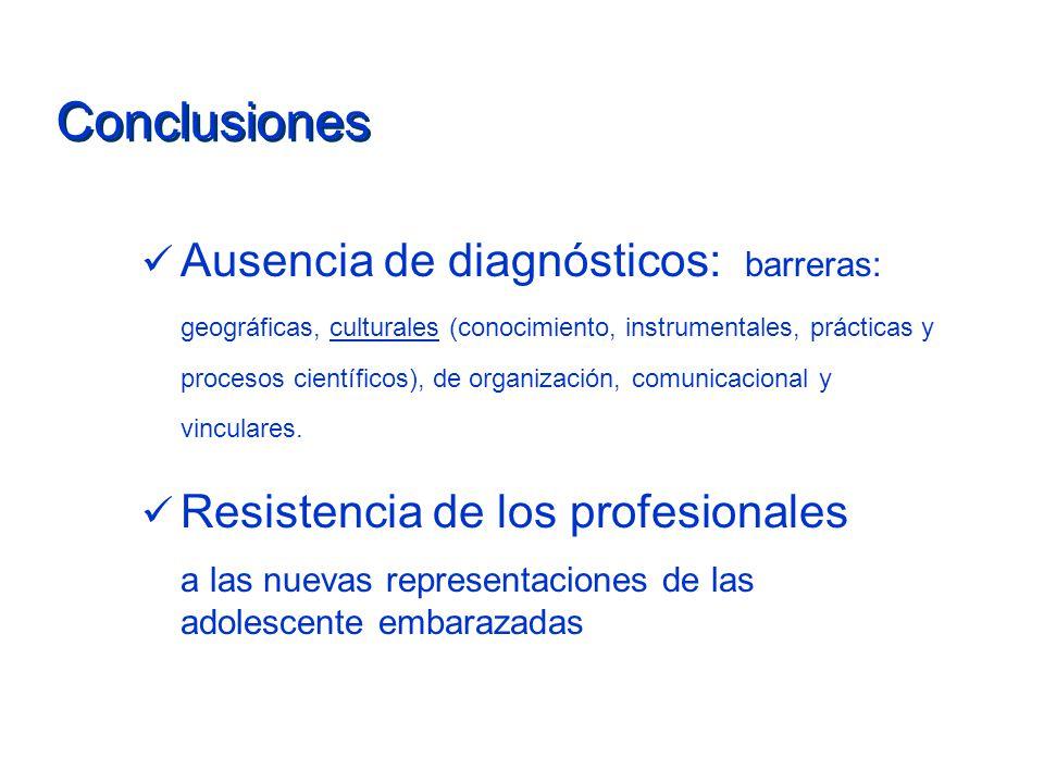 Conclusiones Ausencia de diagnósticos: barreras: geográficas, culturales (conocimiento, instrumentales, prácticas y procesos científicos), de organiza