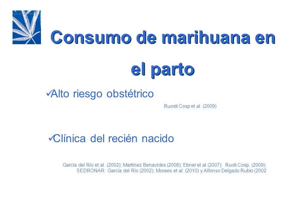 Consumo de marihuana en el parto Alto riesgo obstétrico Ruosti Cosp et al. (2009)) Clínica del recién nacido García del Río et al. (2002); Martínez Be