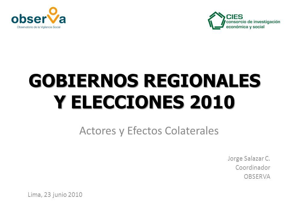 GOBIERNOS REGIONALES Y ELECCIONES 2010 Actores y Efectos Colaterales Jorge Salazar C.