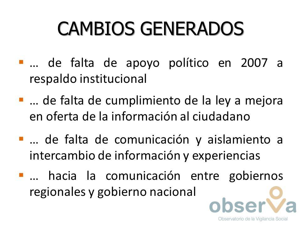 CAMBIOS GENERADOS … de falta de apoyo político en 2007 a respaldo institucional … de falta de cumplimiento de la ley a mejora en oferta de la información al ciudadano … de falta de comunicación y aislamiento a intercambio de información y experiencias … hacia la comunicación entre gobiernos regionales y gobierno nacional