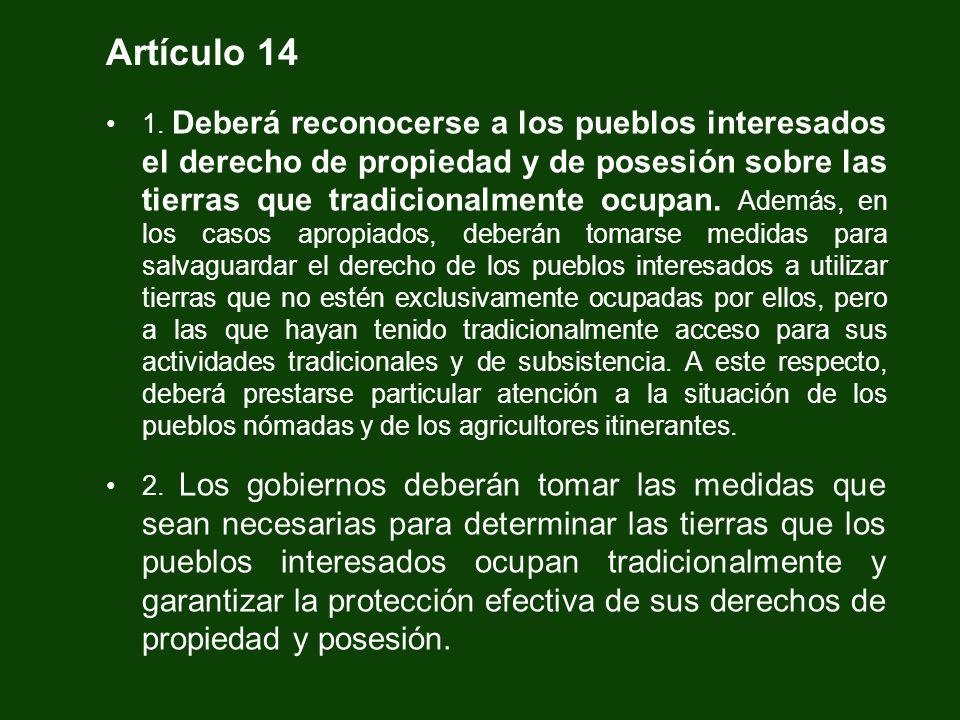 Artículo 14 1. Deberá reconocerse a los pueblos interesados el derecho de propiedad y de posesión sobre las tierras que tradicionalmente ocupan. Ademá