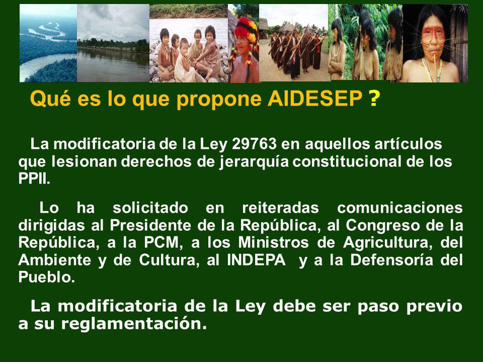 La modificatoria de la Ley 29763 en aquellos artículos que lesionan derechos de jerarquía constitucional de los PPII. Lo ha solicitado en reiteradas c