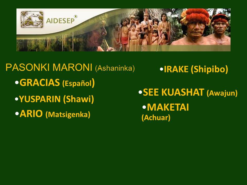 PASONKI MARONI (Ashaninka) SEE KUASHAT (Awajun) GRACIAS (Español ) ARIO (Matsigenka) MAKETAI (Achuar) IRAKE (Shipibo) YUSPARIN (Shawi)