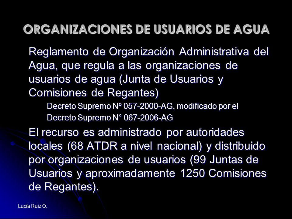 ORGANIZACIONES DE USUARIOS DE AGUA Reglamento de Organización Administrativa del Agua, que regula a las organizaciones de usuarios de agua (Junta de U