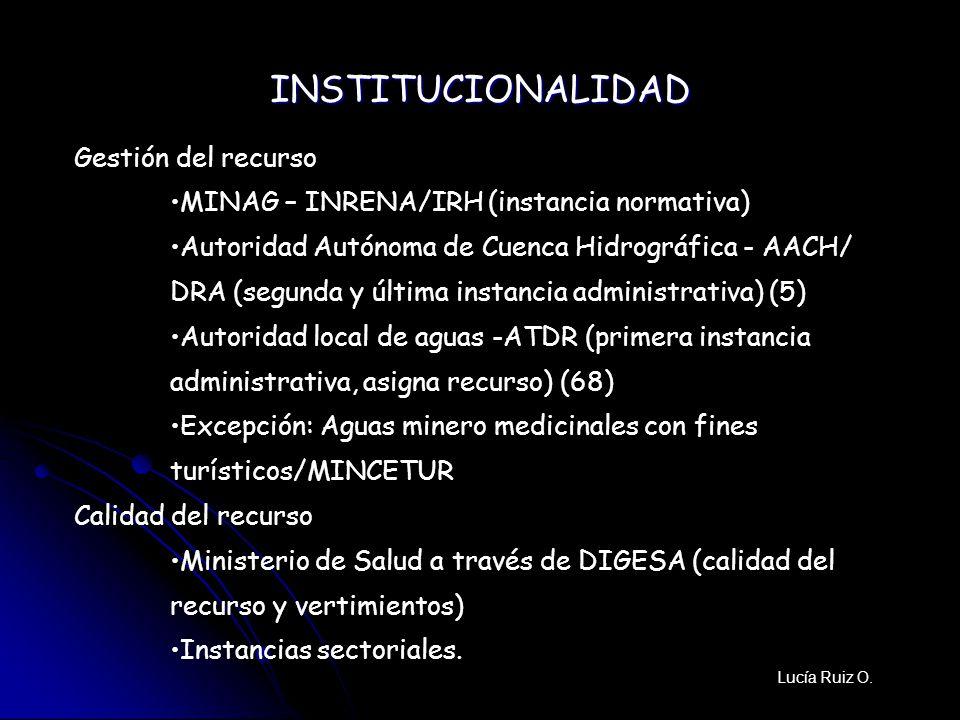 Gestión del recurso MINAG – INRENA/IRH (instancia normativa) Autoridad Autónoma de Cuenca Hidrográfica - AACH/ DRA (segunda y última instancia adminis