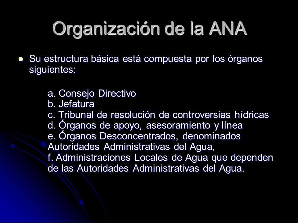 Organización de la ANA Su estructura básica está compuesta por los órganos siguientes: Su estructura básica está compuesta por los órganos siguientes: