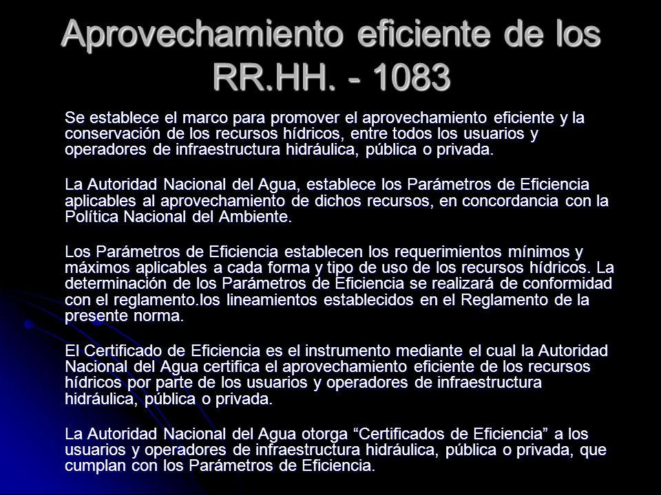 Aprovechamiento eficiente de los RR.HH. - 1083 Se establece el marco para promover el aprovechamiento eficiente y la conservación de los recursos hídr