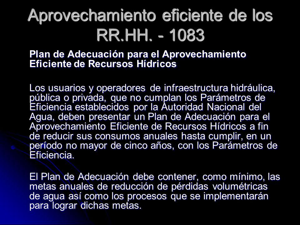 Aprovechamiento eficiente de los RR.HH. - 1083 Plan de Adecuación para el Aprovechamiento Eficiente de Recursos Hídricos Los usuarios y operadores de