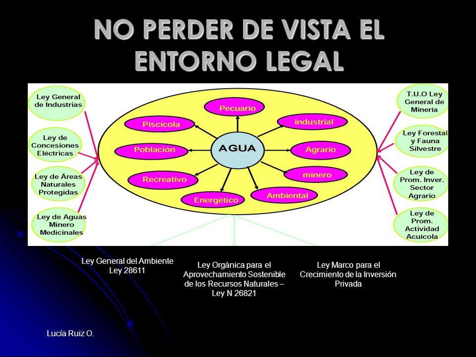 NO PERDER DE VISTA EL ENTORNO LEGAL Ley General del Ambiente Ley 28611 Ley Orgánica para el Aprovechamiento Sostenible de los Recursos Naturales – Ley