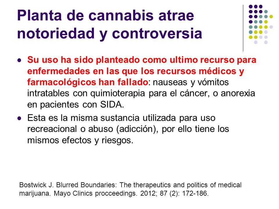 Supuestos usos potenciales medicinales benéficos del Cannabis Antiinflamatorio – artritis reumatoide Dolor (crónico y neuropático) Diarrea (enfermedad
