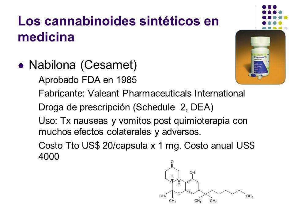 Los cannabinoides sintéticos en medicina Dronabinol (Marinol) Aprobado FDA en 1985 Fabricante: Unimed Pharmaceuticals Inc Droga de prescripción (Sched