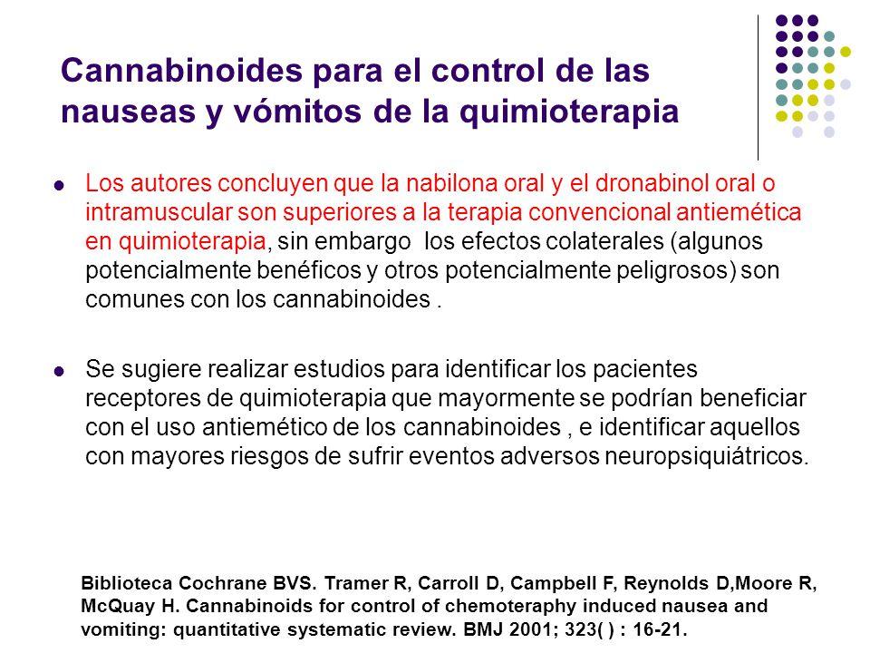 Cannabinoides para el control de las nauseas y vómitos de la quimioterapia Se revisaron estudios de cannabinoides via oral vs antiemético convencional