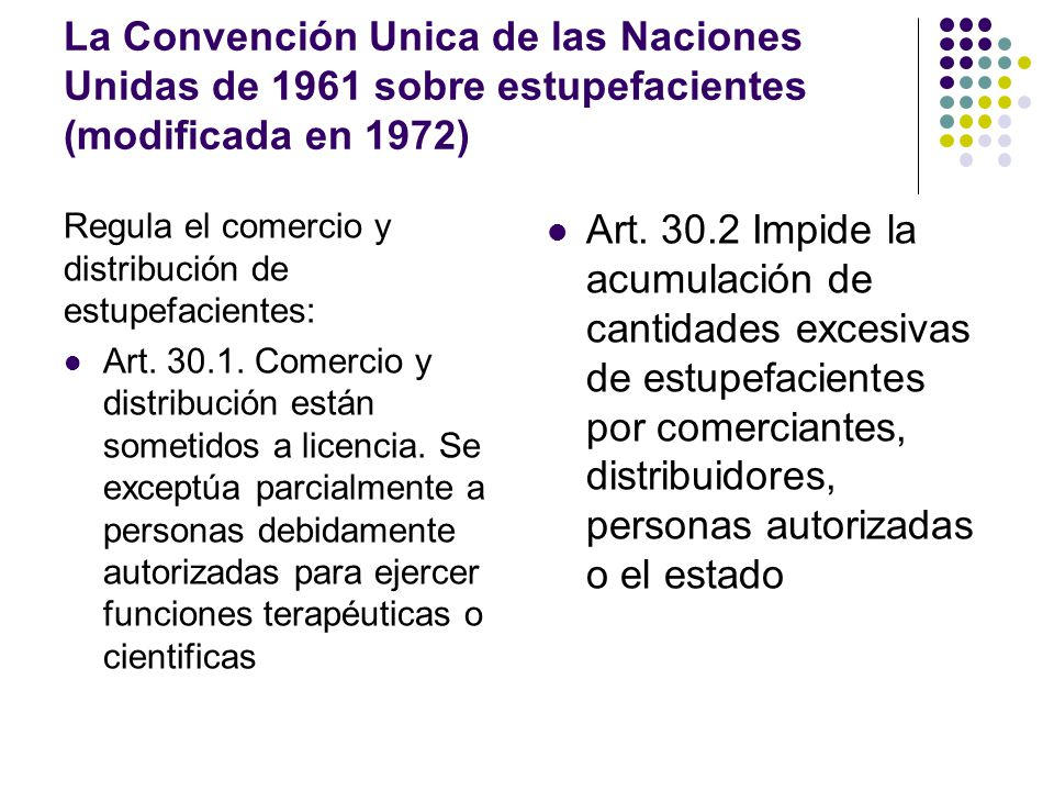 Marco regulatorio del uso medicinal de drogas estupefacientes La Convención Unica de las Naciones Unidas de 1961 sobre estupefacientes